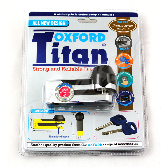 OXFORD SECURITY OF51 TITAN TOUGH AND RELIABLE MOTORCYCLE DISC LOCK YELLOW